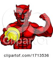 Devil Tennis Sports Mascot Holding Ball by AtStockIllustration