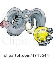 Poster, Art Print Of Elephant Tennis Ball Sports Animal Mascot
