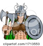 Viking Female Gladiator Warrior Woman Team Mascot by AtStockIllustration