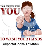 Doctor Nurse Woman Needs You Wash Hands Pointing