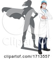 Superhero Doctor Woman With Super Hero Shadow