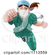 Nurse Doctor Woman Super Hero Medical Concept
