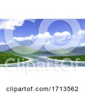 3D Landscape With Grassy Hills And Blue Cloudy Sky