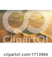 3D Desert Scene With Oasis Of Water And Palm Trees
