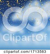 Gold Confetti On Blue Sky Background
