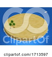 Poster, Art Print Of 3d Isometric Desert Island Landscape With Palm Trees On Ocean Background