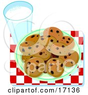 Plate Of Chocolate Chip Cookies Resting On A Red And White Chekered Table Cloth By A Glass Of Milk