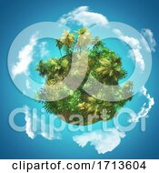 3D Tropical Background With Glove Of Palm Trees On Blue Sky With Circling Clouds