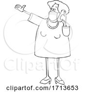 Cartoon Lineart Woman Wearing A Mask And Yaking On A Cell Phone