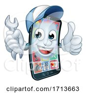 Poster, Art Print Of Mobile Phone Repair Spanner Thumbs Up Cartoon