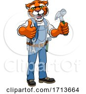 Poster, Art Print Of Tiger Mascot Carpenter Handyman Holding Hammer