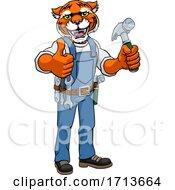 05/12/2020 - Tiger Mascot Carpenter Handyman Holding Hammer