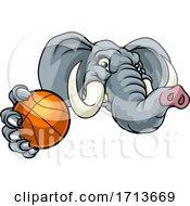Poster, Art Print Of Elephant Basketball Ball Sports Animal Mascot