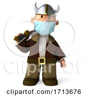 3d Short Viking On A White Background