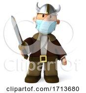 3d Short Viking On A White Background