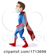 3d White Male Blue And Red Super Hero On A White Background