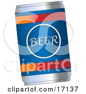 Blue Beer Can With Red And Orange Lines Clipart Illustration