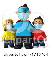 3d Super Man Or Dad With Kids Wearing Masks On A White Background