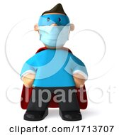 3d Male Super Hero Wearing A Mask On A White Background