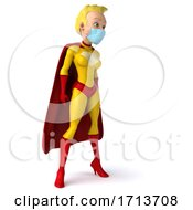 3d Blond White Female Yellow And Red Super Hero Wearing A Mask On A White Background