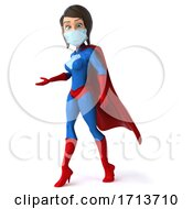 3d White Female Blue And Red Super Hero On A White Background