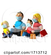 3d Shopping White Family Wearing Masks On A White Background