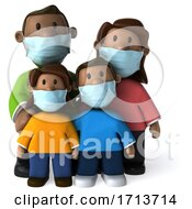3d Happy Black Family On A White Background