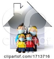 3d White Family Wearing Masks On A White Background