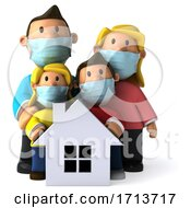 3d White Family Wearing Masks On A White Background by Julos