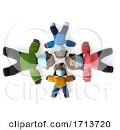 3d Happy Black Family On A White Background by Julos