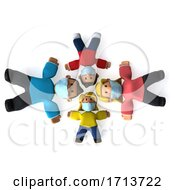 Poster, Art Print Of 3d Happy Black Family On A White Background