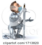 3d Caucasian Male Armored Knight Wearing A Mask On A White Background