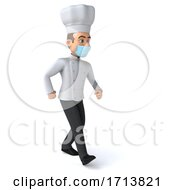 Poster, Art Print Of 3d Young White Male Chef Wearing A Mask On A White Background
