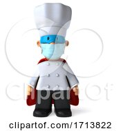 Poster, Art Print Of 3d Short White Male Super Chef Wearing A Mask On A White Background