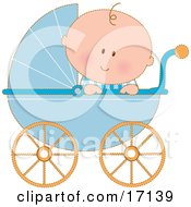 Caucasian Baby Boy In A Blue Stroller Carriage Looking Over The Side Clipart Illustration