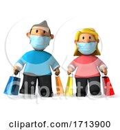 Poster, Art Print Of 3d Caucasian Couple Carrying Shopping Bags And Wearing Masks On A White Background