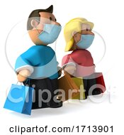 3d Caucasian Couple Carrying Shopping Bags And Wearing Masks On A White Background