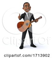 Poster, Art Print Of 3d Black Businessman On A White Background