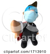 3D Short White Businessman On A White Background