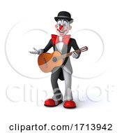 Poster, Art Print Of 3d White And Black Clown On A White Background