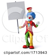Poster, Art Print Of 3d Clown Wearing A Face Mask On A White Background