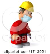 Poster, Art Print Of 3d Short Construction Worker Wearing A Mask On A White Background