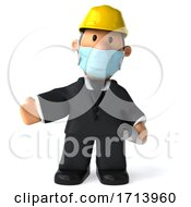 3d Short Architect On A White Background