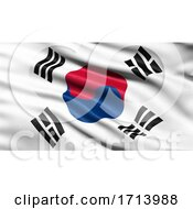 3D Illustration Of The Flag Of South Korea Waving In The Wind