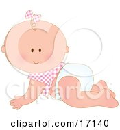 Caucasian Baby Girl In A Pink Checkered Shirt And Bow On Her Hair Crawling In A Diaper