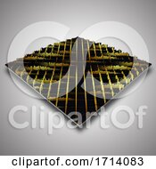 Poster, Art Print Of 3d Background With Extruding Gold And Black Bars
