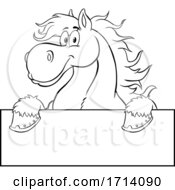 Black And White Happy Draft Horse Over A Sign