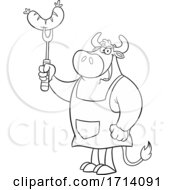 Poster, Art Print Of Black And White Bull Bbq Chef With A Sausage