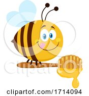 Happy Bee With A Honey Dipper