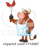 Poster, Art Print Of Bull Bbq Chef With A Sausage